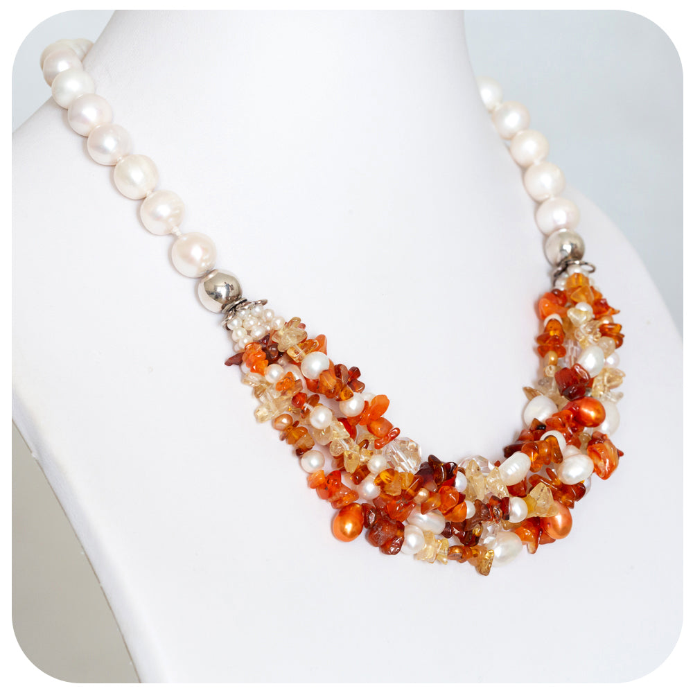 Pearl, Carnelian and Citrine Necklace - Victoria's Jewellery