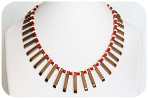 Coral, Ostrich shell and Hematite Necklace - Victoria's Jewellery