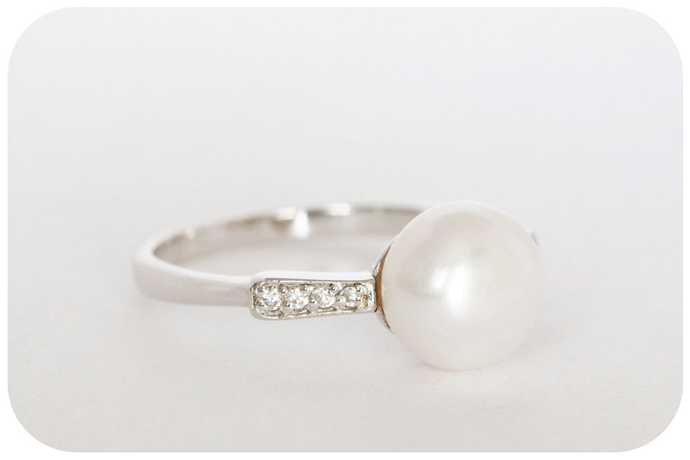 Natural Freshwater Pearl and Cubic Zirconia Ring Crafted in 925 Sterling Silver - Victoria's Jewellery