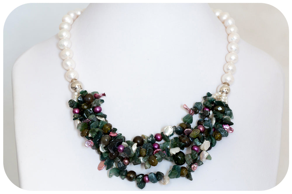 Pearl, Labradorite and Jasper Necklace - Victoria's Jewellery