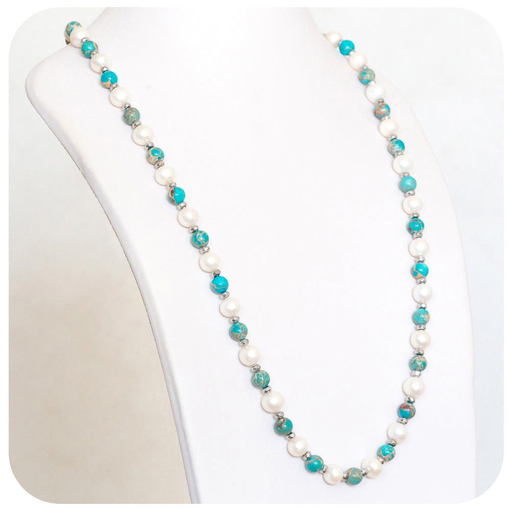 Freshwater Pearl and Oceanic Marbled Turquoise Necklace (75cm) - Victoria's Jewellery