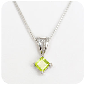 Square cut Peridot Pendant in Sterling Silver - Victoria's Jewellery