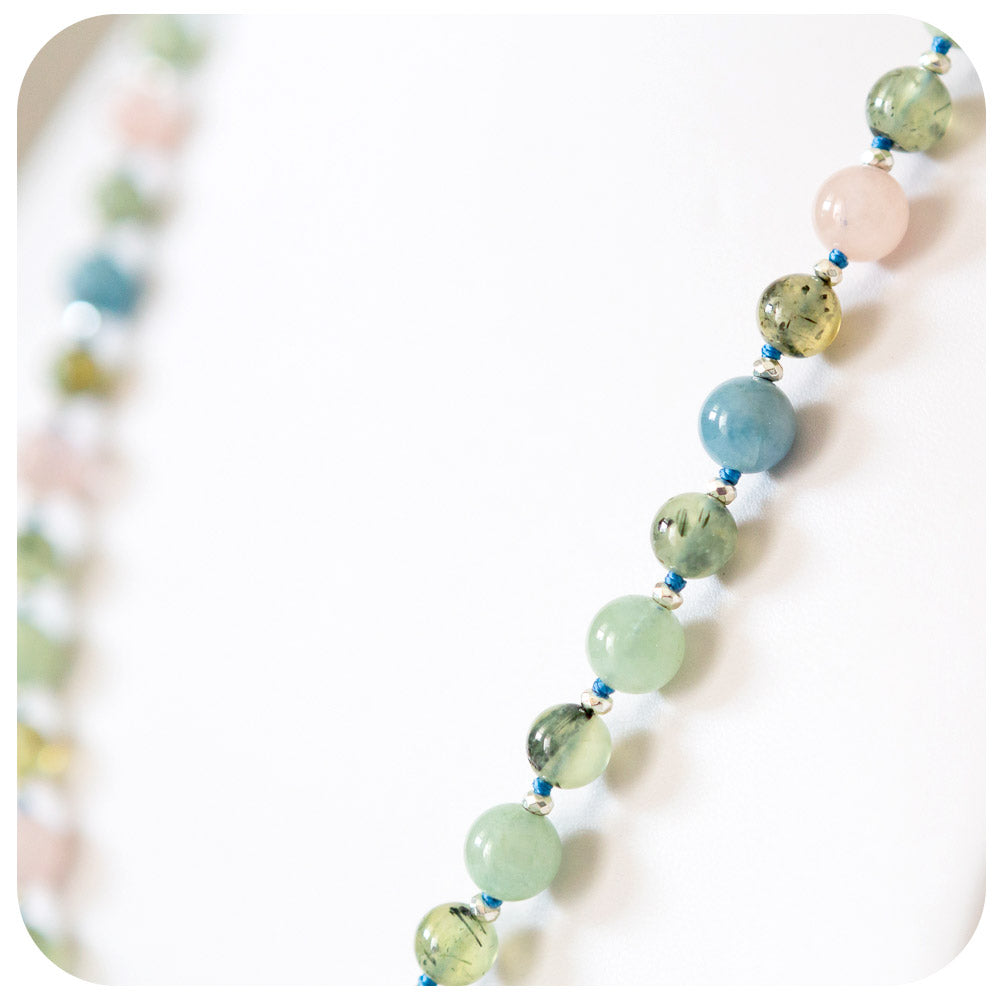 Pink, Blue and Green Morganite Necklace with Prehnite details - 65cm