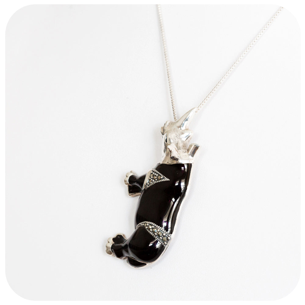 Black Rhino Pendant/Brooch with Marcasite in 925 Sterling Silver - Victoria's Jewellery