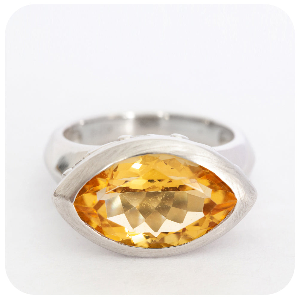 Filigree detail Citrine Ring Solidly Crafted in 925 Sterling Silver - Victoria's Jewellery
