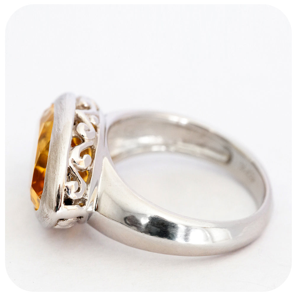 Filigree detail Citrine Ring Solidly Crafted in Sterling Silver - Victoria's Jewellery