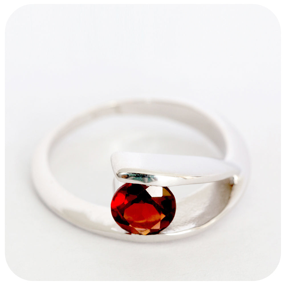 Sterling Silver and Garnet Wishbone Ring - Victoria's Jewellery