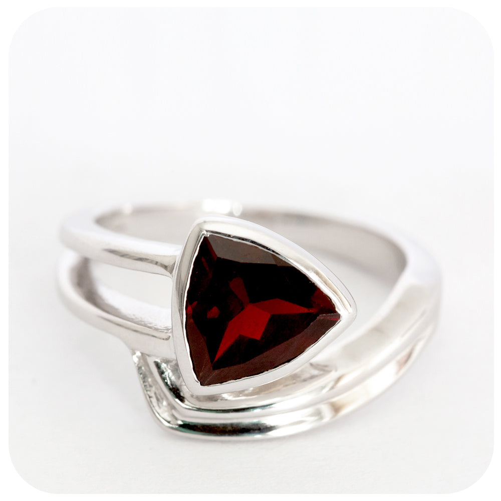 Deeply Rich Red Garnet Ring locally manufactured in 925 Sterling Silver - Victoria's Jewellery