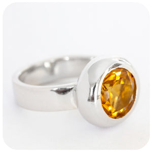 Round Cut Citrine Ring Boldly Crafted in Solid 925 Sterling Silver - Victoria's Jewellery