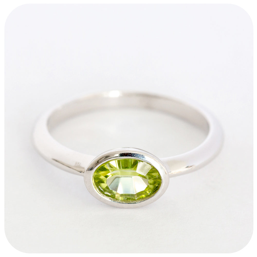 Joyous Green Peridot Ring crafted in 925 Sterling Silver - Victoria's Jewellery