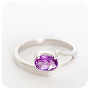 Petite Oval Cut Amethyst Ring crafted in 925 Sterling Silver - Victoria's Jewellery