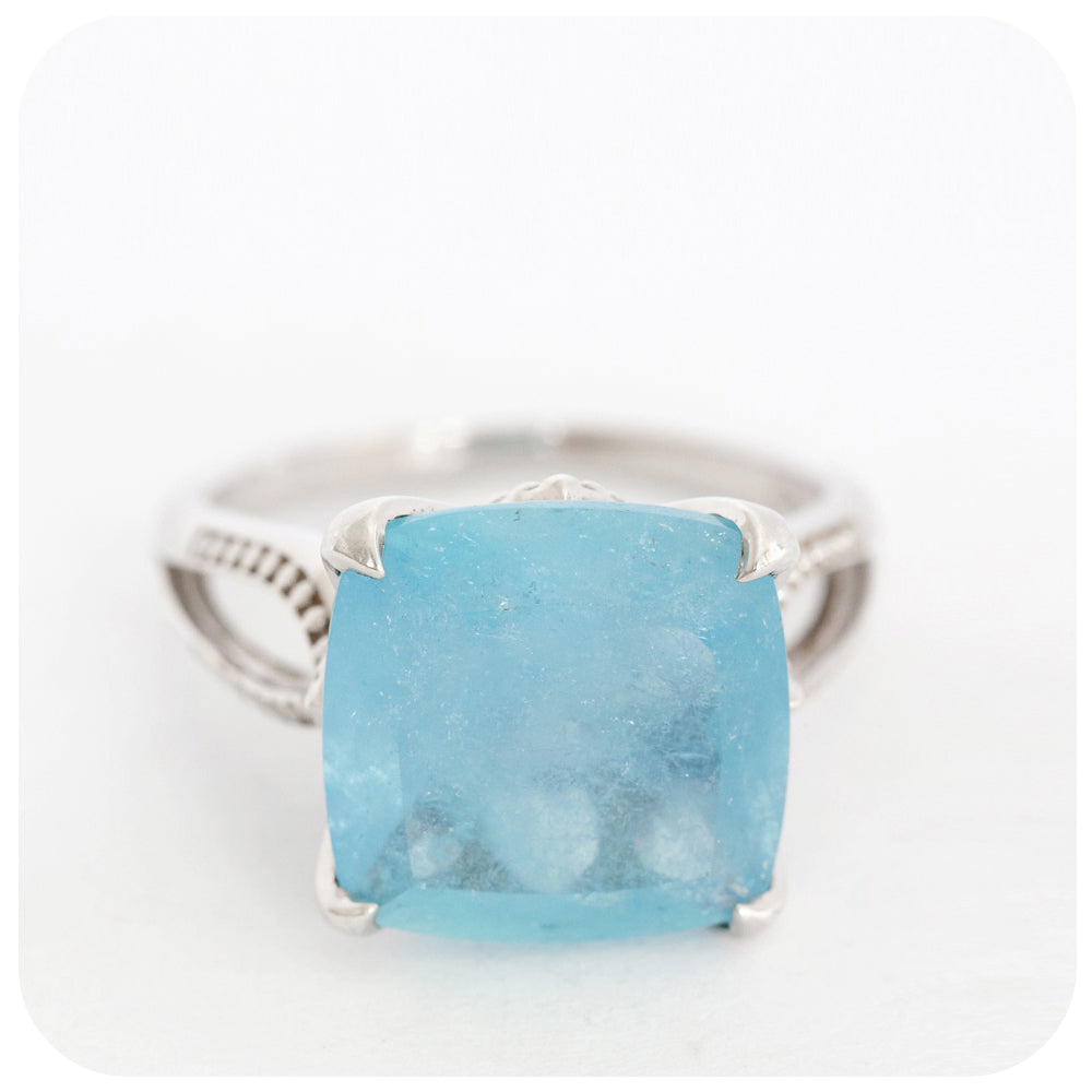 Luscious Pillow Cut Aquamarine Ring Artfully Crafted in 925 Stirling Silver - Victoria's Jewellery
