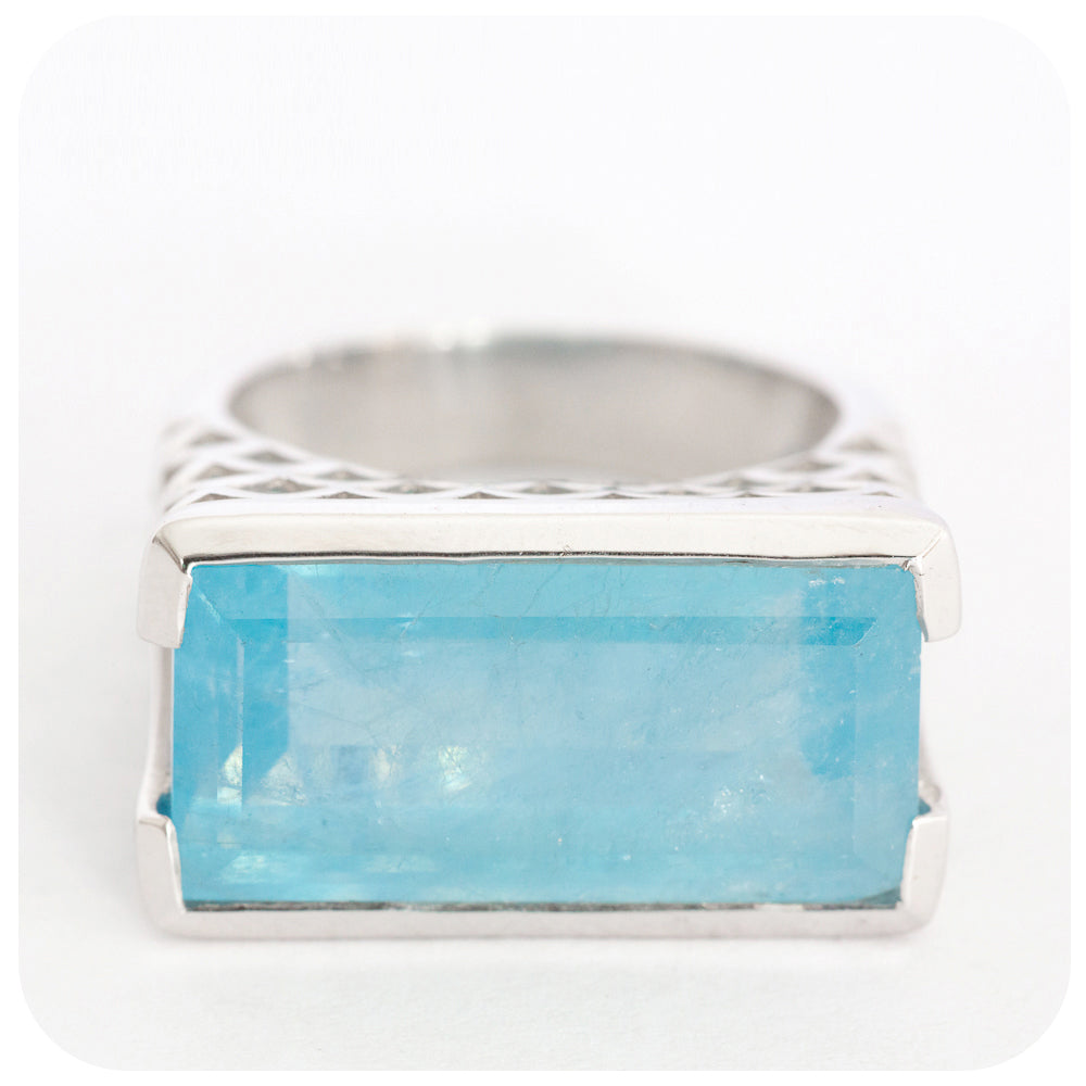 Intense Rectangularly Cut Aquamarine Ring Solidly Crafted in 925 Sterling Silver - Victoria's Jewellery