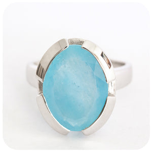 Intense Marquise Cut Aquamarine Ring Solidly Crafted in 925 Sterling Silver - Victoria's Jewellery