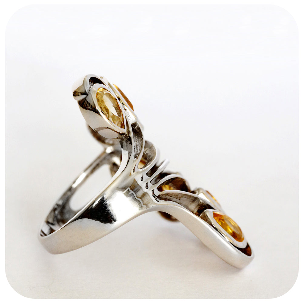 Citrine Peacock Ring Masterfully Crafted in 925 Sterling Silver - Victoria's Jewellery
