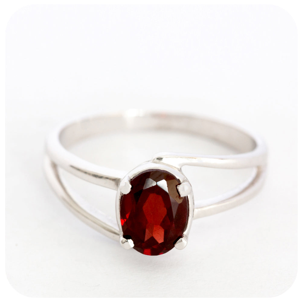 Ember Red Iridescent Split Band Garnet Ring crafted in 925 Sterling Silver - Victoria's Jewellery