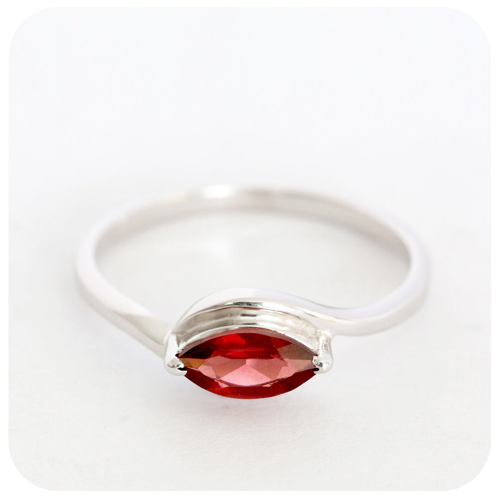 Petite Red Garnet Marquis Cut Stackable Ring crafted in 925 Sterling Silver - Victoria's Jewellery