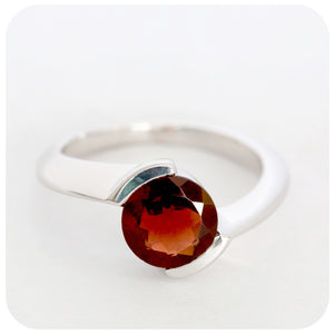 Vibrant Red Garnet Ring Crafted in 925 Sterling Silver - Victoria's Jewellery