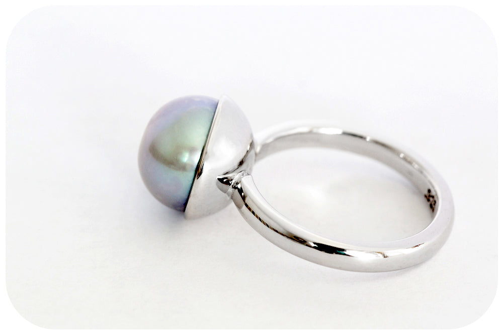 Hand Crafted Grey Fresh Water Pearl Ring in Solid 925 Sterling Silver - Victoria's Jewellery