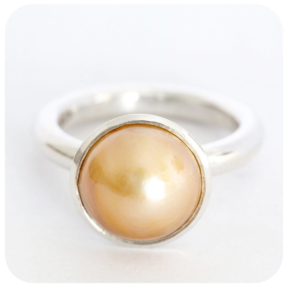 Hand-Crafted Mabe Pearl Ring in Solid 925 Sterling Silver - Victoria's Jewellery