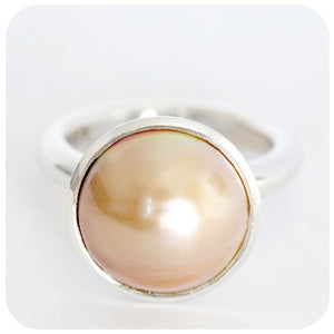 Bench-Made Gold Colored Mabe Pearl Ring in Solid 925 Stirling Silver - Victoria's Jewellery
