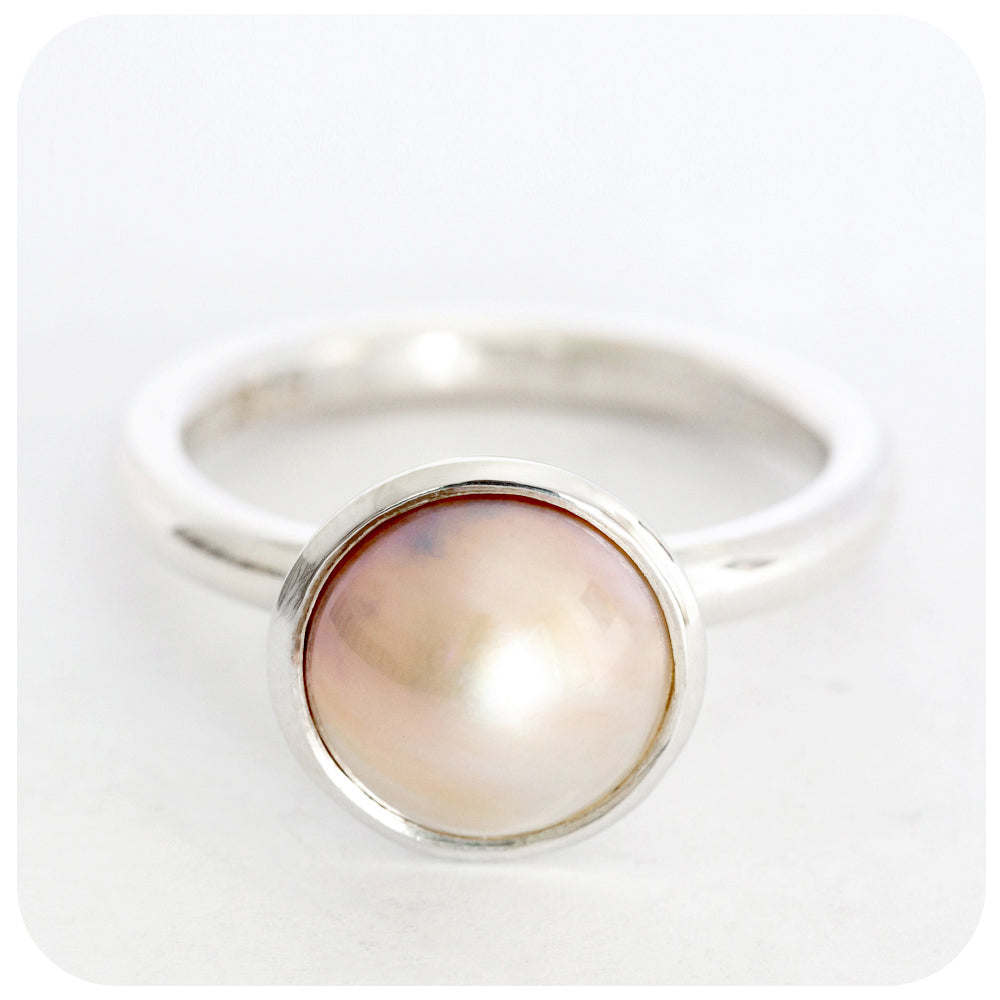 Rich Savannah Sand Colored  Mabe Pearl Ring Handmade in Solid 925 Sterling Silver - Victoria's Jewellery