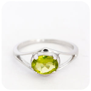 Tip Toe Dainty Peridot Ring in 925 Sterling Silver - Victoria's Jewellery