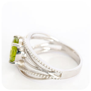 Bold Wrapped-Look Peridot Ring In 925 Sterling Silver - Victoria's Jewellery