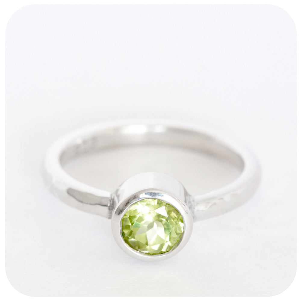 """I have been made lovingly by hand"" Peridot Ring In 925 Sterling Silver - Victoria's Jewellery"