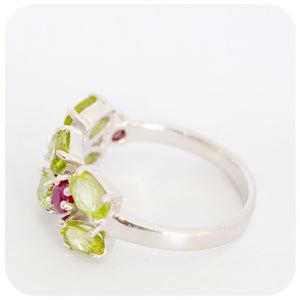 "The ""I got attitude"" Peridot and treated Natural Ruby Ring... in 925 Sterling Silver - Victoria's Jewellery"