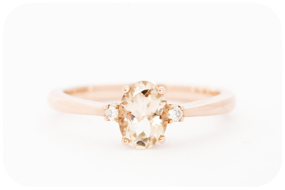 Oval cut Morganite and Diamond Ring in Rose Gold - 0.75ct