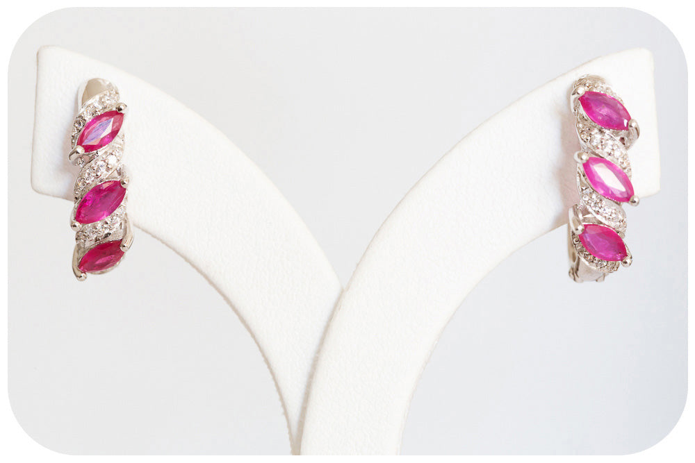 Ruby and Cubic Zirconia Earring - Victoria's Jewellery