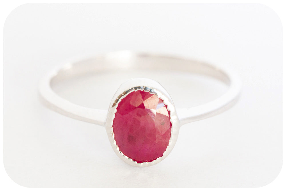 Oval Cut Ruby Ring crafted in 925 Sterling Silver - Victoria's Jewellery