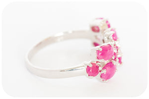 Multi Stone Ruby Ring in 925 Sterling Silver - Victoria's Jewellery