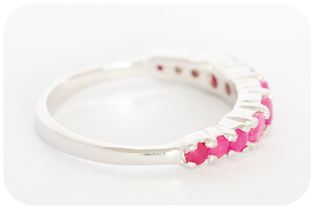 Ruby Half-Eternity Ring Crafted in 925 Sterling Silver - Victoria's Jewellery