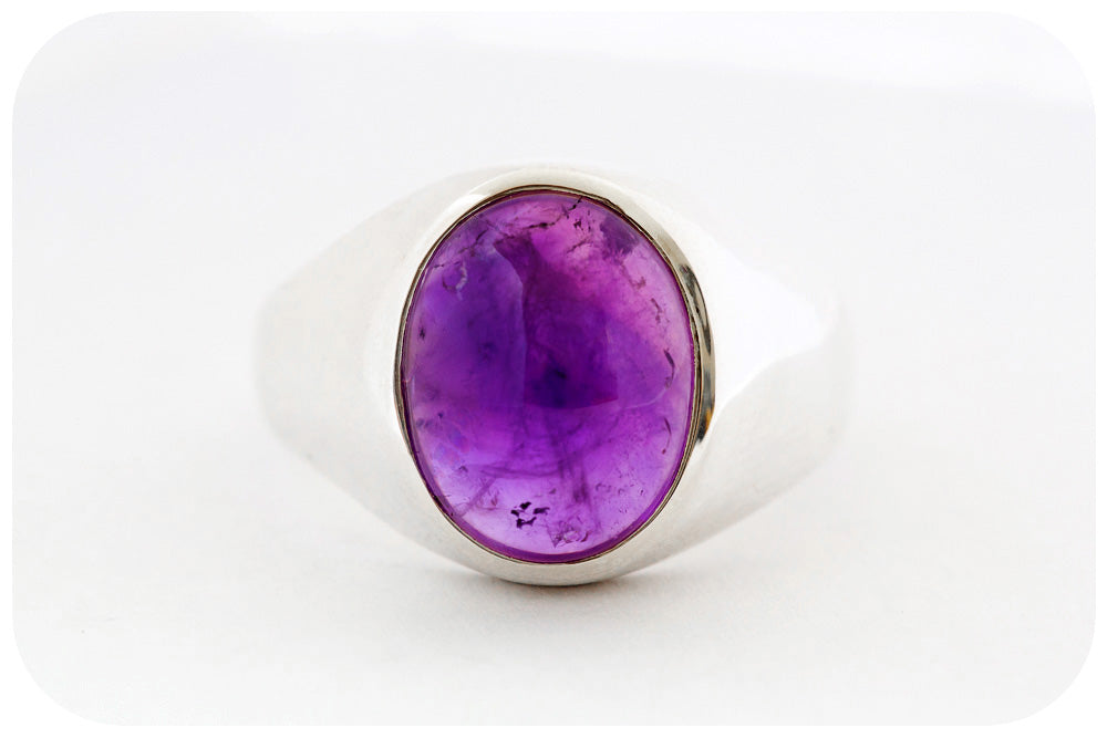 Oval cut Cabochon Amethyst Signet Style Ring in Sterling Silver