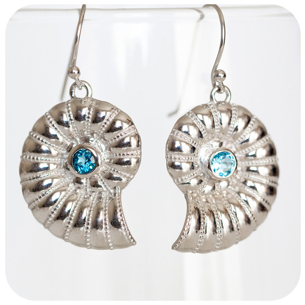 Sterling Silver Shell Earrings with Blue Topaz - Victoria's Jewellery