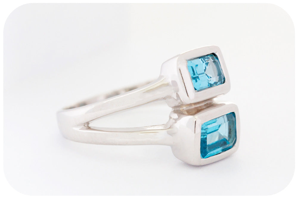 Twin Stone Rectangular Cut Swiss Blue Topaz Ring in Sterling Silver
