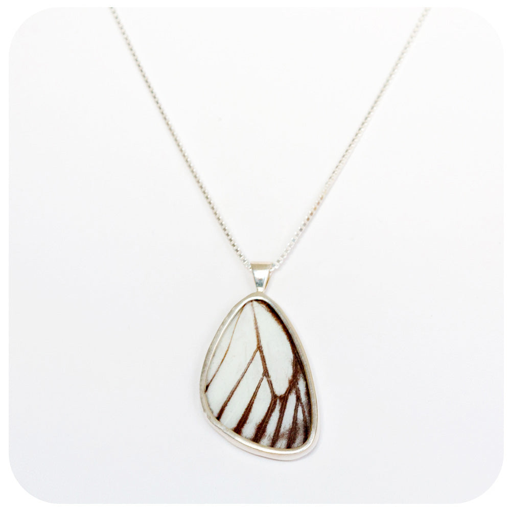 Butterfly Wing Pendant in Sterling Silver - 30mm