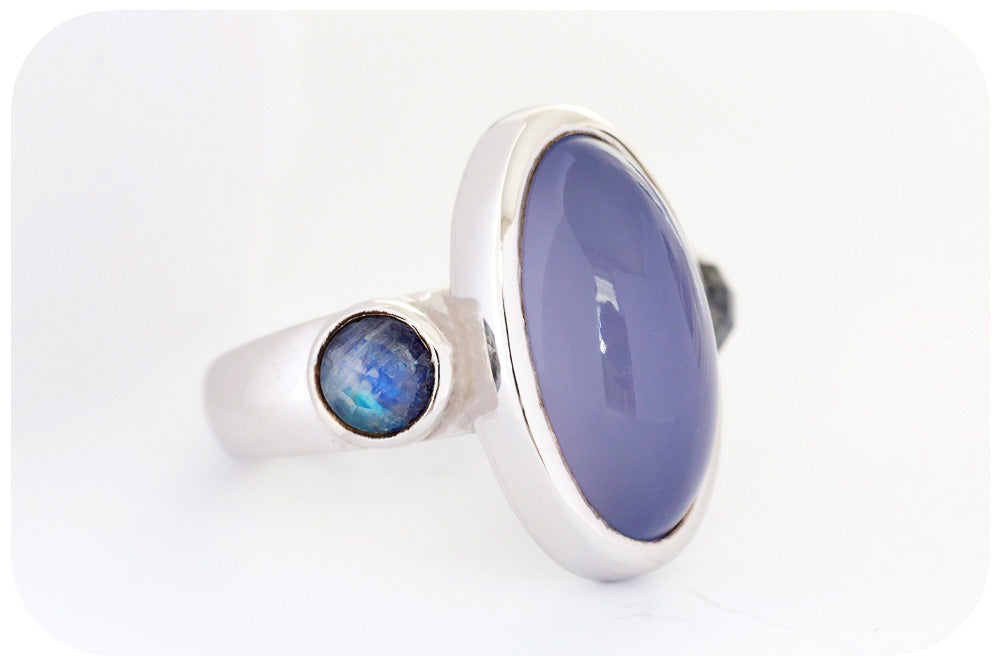 Chalcedony and Moonstone Ring in Sterling Silver with a Rhodium Finish