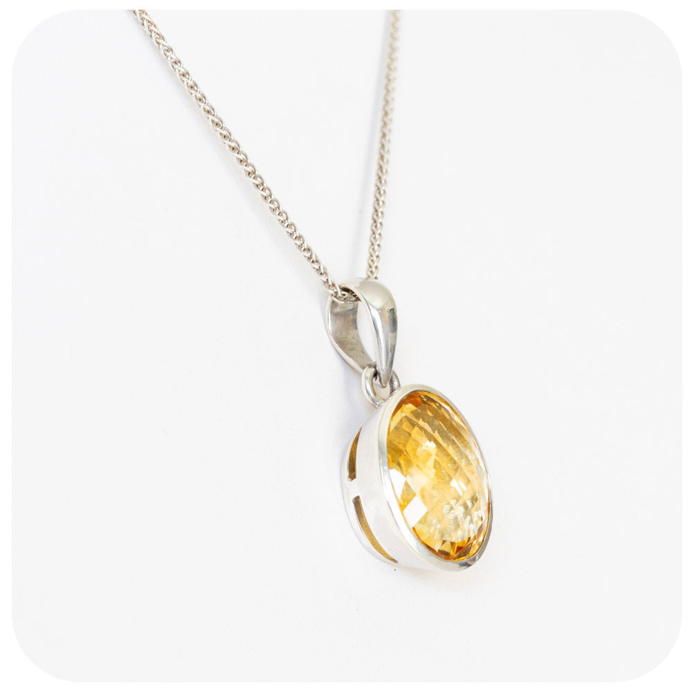 Radiant Oval Citrine Pendant In Sterling Silver - 20x14mm - Victoria's Jewellery
