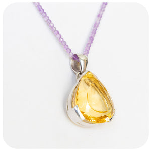 Magnificent Pear cut Citrine Pendant in Sterling Silver - 26x24mm - Victoria's Jewellery