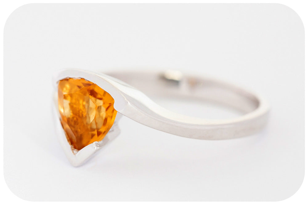 Trilliant cut Honey Yellow Citrine Ring in Sterling Silver