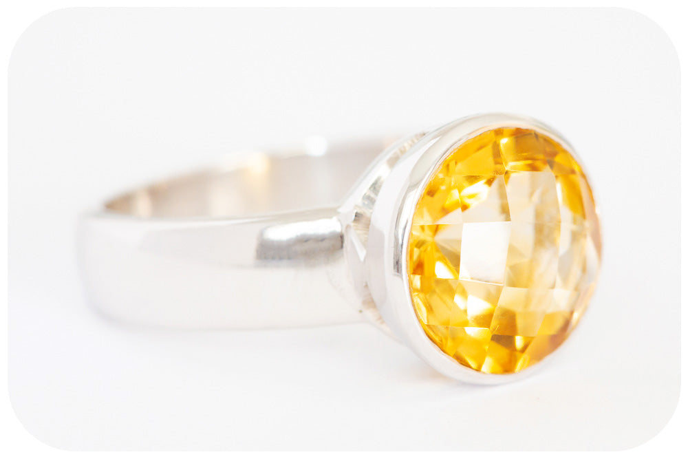 Sunflower Yellow Citrine Ring in Silver - Victoria's Jewellery