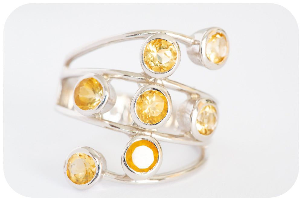 Multi Radiant Citrine Split Band Ring crafted in 925 Sterling silver - Victoria's Jewellery