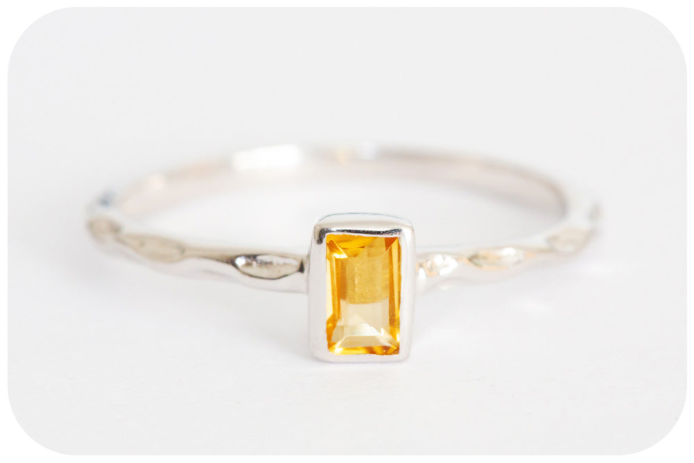 Whispering Emerald cut Citrine Ring crafted in 925 Sterling Silver - Victoria's Jewellery