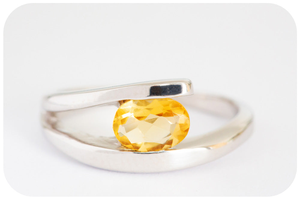 Oval cut Citrine Ring with Silver Split Band - Victoria's Jewellery