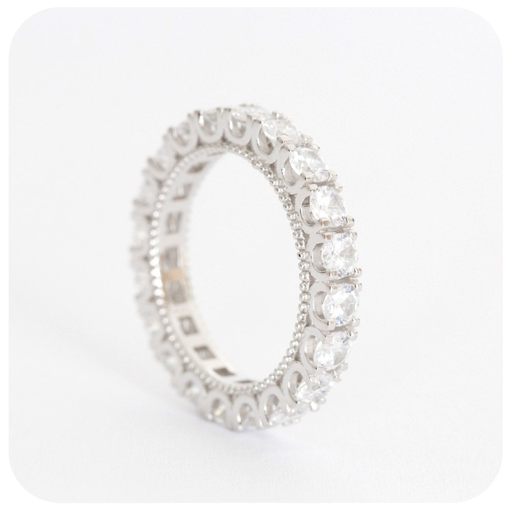 Cubic Zirconia Eternity Ring in Sterling Silver