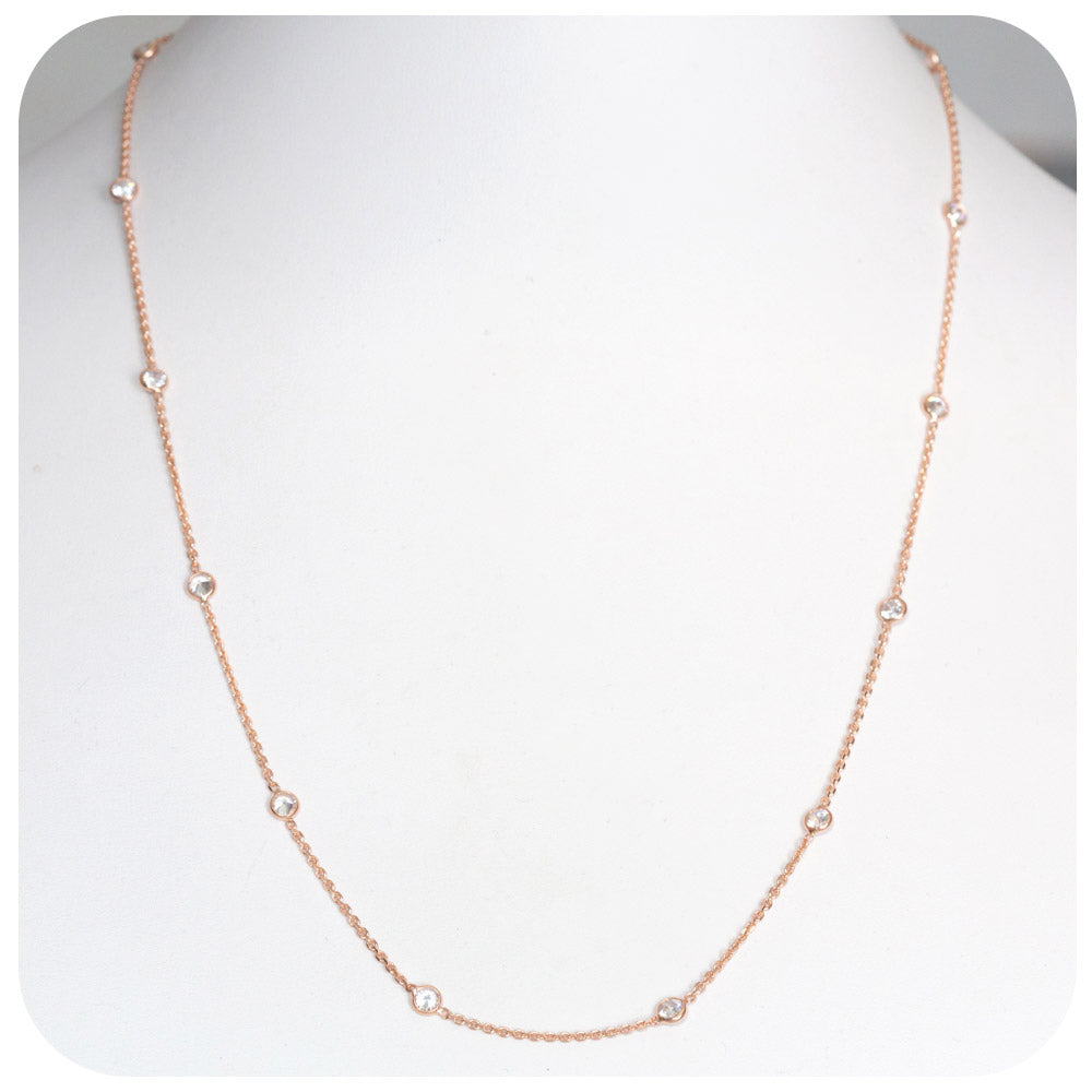 Rose Gold Plated Sterling Silver Necklace with Cubic Zirconia - 50cm
