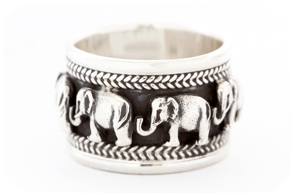 Chunky Detailed Elephant Eternity Ring Crafted in 925 Sterling Silver with Oxidization - Victoria's Jewellery